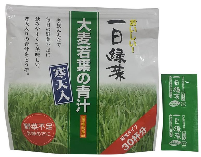 日本一日緑菜 大麦若叶青汁 添加寒天 30杯份