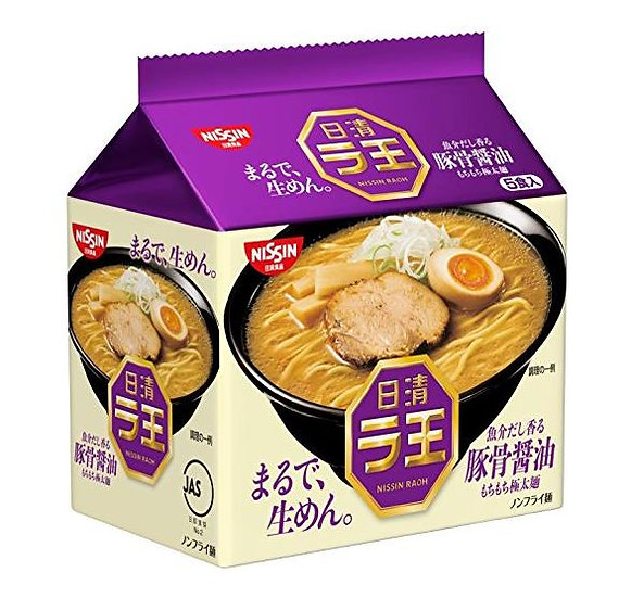 日本方便面 日清NISSIN 拉王豚骨酱油风味浓汤拉面非油炸泡面 5袋*6包(30袋)