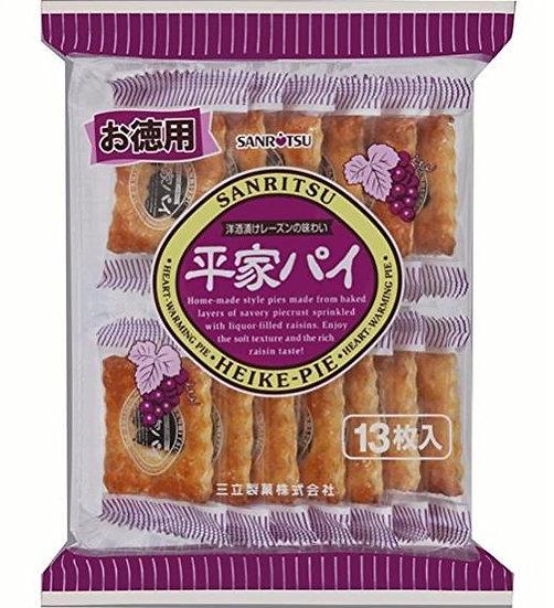 日本零食 三立葡萄干派酥饼提子馅饼195g 下午茶点心