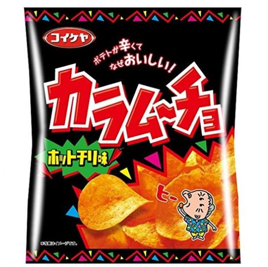 日本零食 湖池屋 咔辣姆久 平切洋芋片 劲辣唐辛子口味 55g 5包