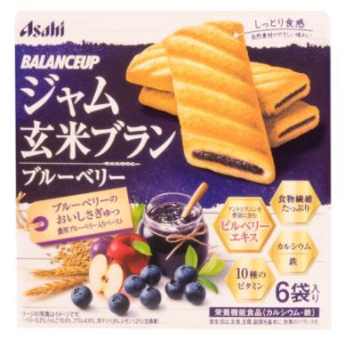 日本 Asahi 朝日 膳食纤维维他命营养夹心代餐玄米饼干6袋入