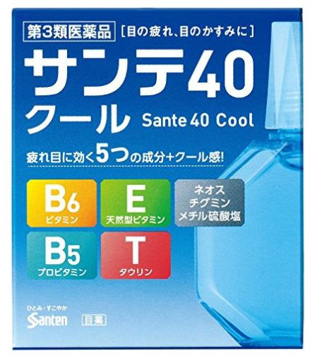 日本Santen参天40 Cool 眼药水 眼部滋润营养清凉舒爽滴眼液12ml