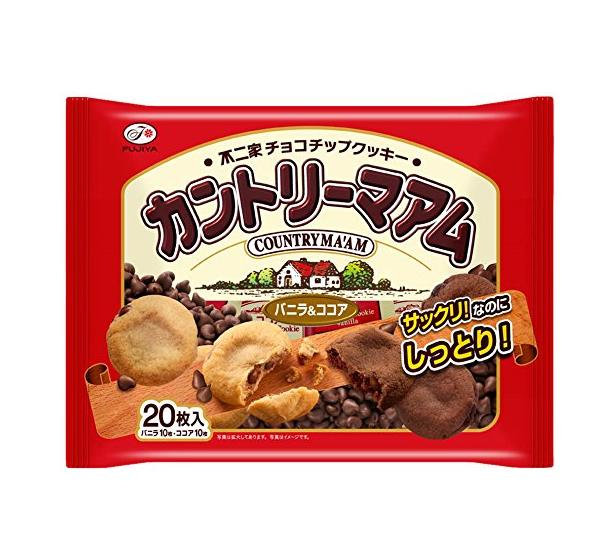 日本零食不二家Fujiya 香草&可可巧克力 乡村曲奇饼干 20枚*12包