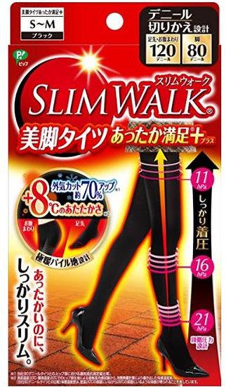 日本 Slim walk 丝翎舒适局部发热特殊材质提臀收腿打底裤