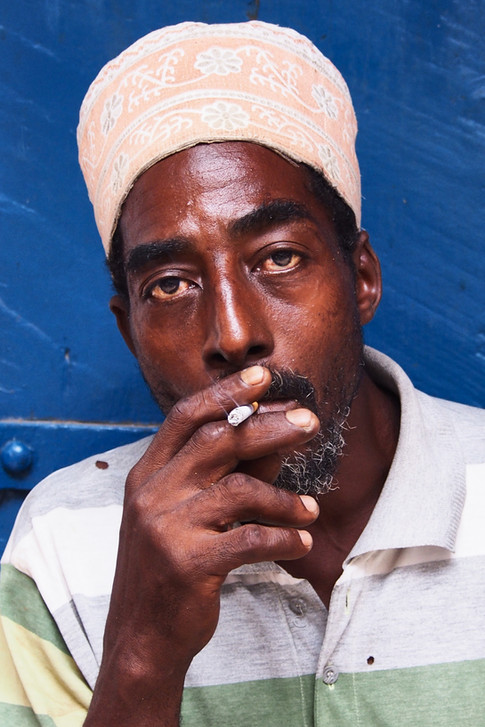 Candid portrait of a black african man s