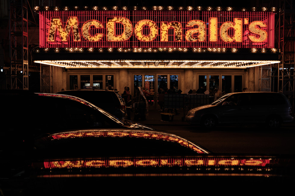 Reflection light of McDonalds at Times S