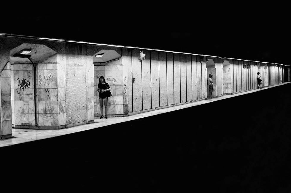 Minimalist street photo of a metro stati