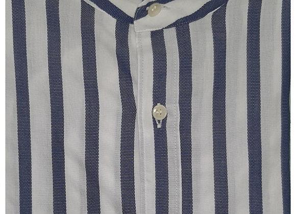 Camicia Cotone con Strisce bianco-blu collo koreano