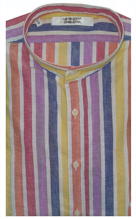 Camicia Cotone  con strisce larghe collo koreano