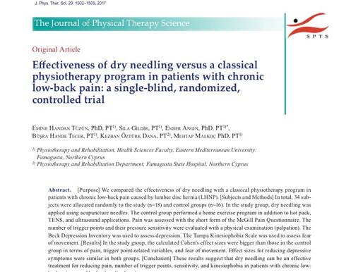 Efficacia del Dry Needling comparatoa programma di fisioterapia  in pazienti con low-back pain