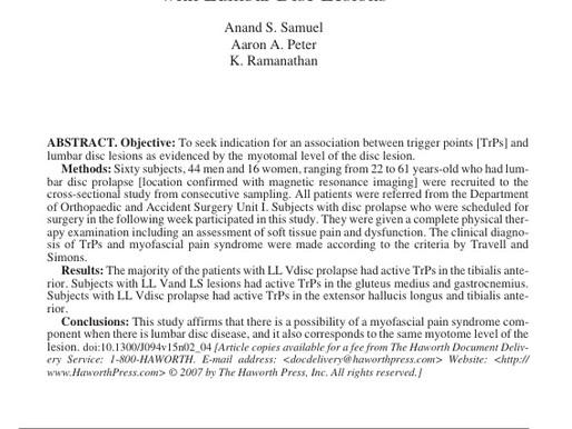 Associazione fra trigger points attivi e lesioni del disco lombare