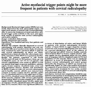 Ernia cervicale e Trigger Points, quali correlazioni?