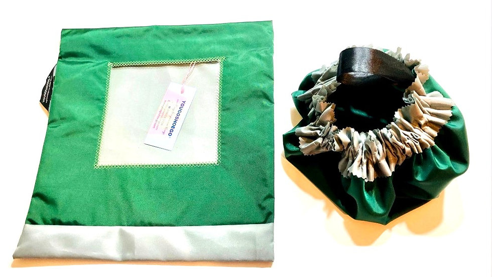 Plain shoe pouch with matching shower cap