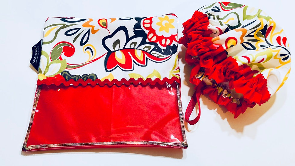 Shoe pouch and matching shower cap