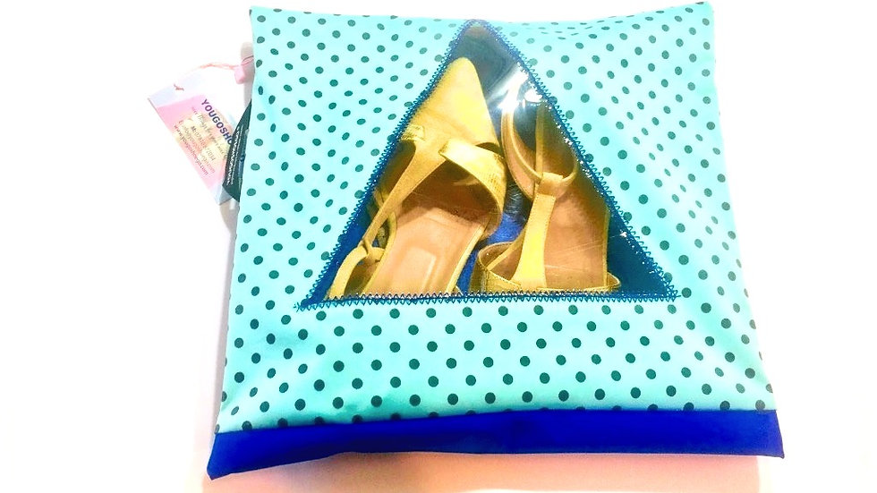 Yougoshoego®️ patterned shoe storage and travel pouch with a triangular window