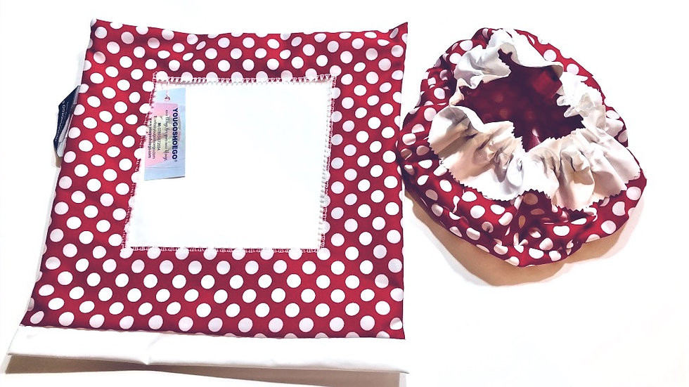 Patterned shoe pouch with a matching shower cap