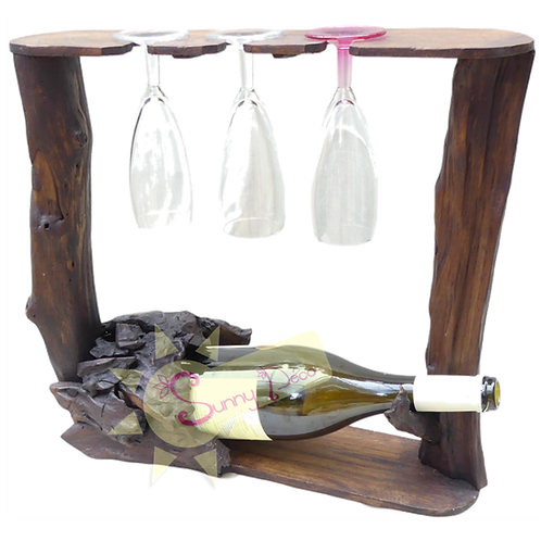 Support bouteille et 3 verres à pied