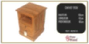 table de chevet en teck 2 tiroirs 1 niche