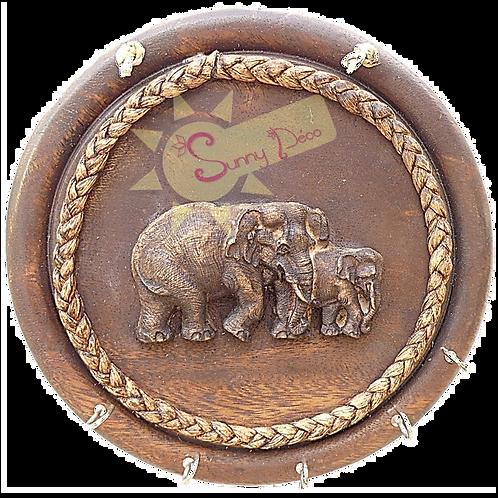 Support à clés rond motif éléphants