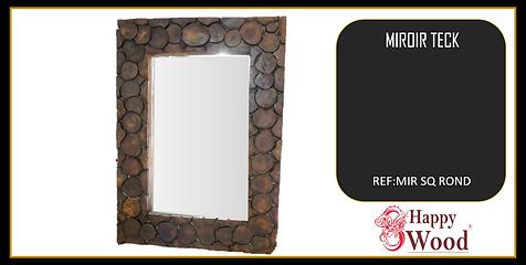 Miroir en rondin de teck rectangle