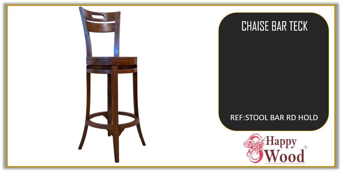 chaise de bar pivotant teck - tabouret