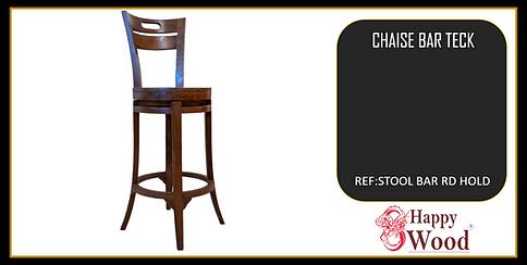 chaises de bar pivotant en teck