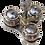 Thumbnail: Pots à épices en bois sur socle triangulaire