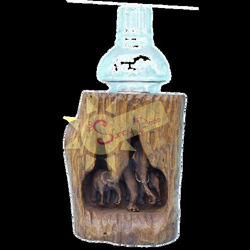Bougeoir tronc sculpté éléphant