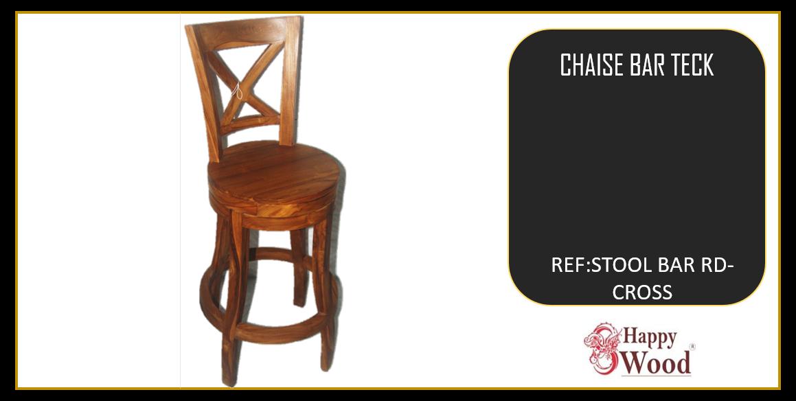 chaises de bar pivotant teck