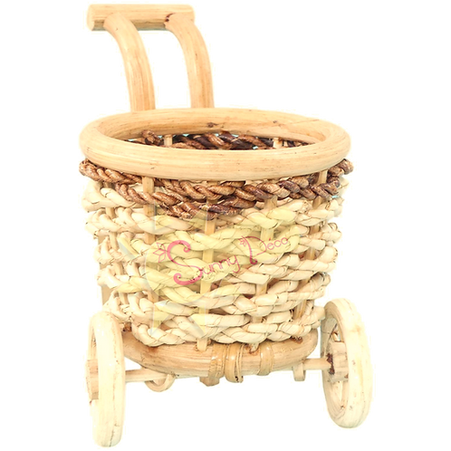 Chariot porte bouteille en osier
