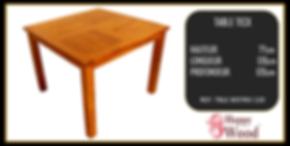 table à manger carré en teck plateau ajouré