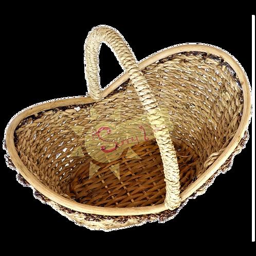 Panier de forme ovale avec anse, contour oblique