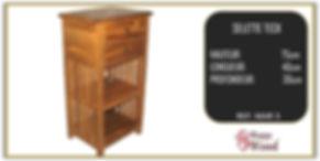 table de chevet 2 tiroirs 2 étgages en teck