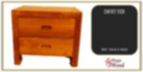 table de chevt en teck 2 tiroirs