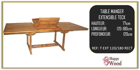 table rectangulaire teck extensible