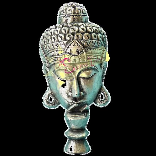 Tête de bouddha argenté à accrocher ou poser