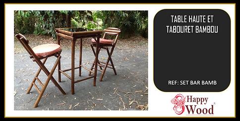 complet table et chaises de bar en bambou