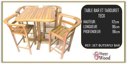 complet table et chaises de bar en teck