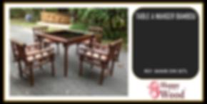 set table vitrée et chaises bambou