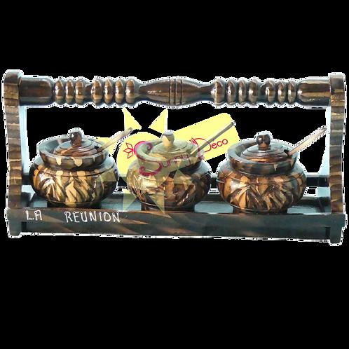 Pots à épices en bois sur socle rectangulaire