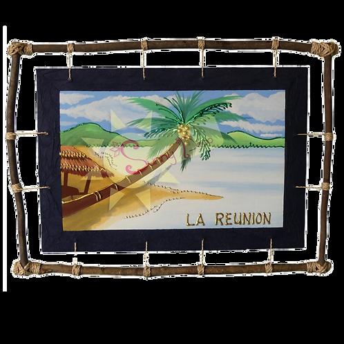 """Tableau """" La Réunion"""" plage et cocotier"""