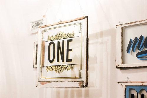 Hand paint 'One' window