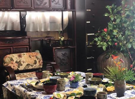 花のある家黒川邸#おもてなし料理 #季節の花 #アンティーク