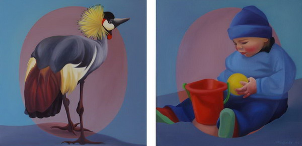 1995 Bird & baby boy - diptych