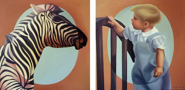 1995 Boy looking at a zebra - diptych