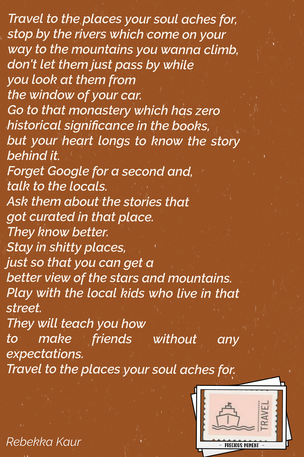 poetry on traveling and exploring by Rebekka Kaur