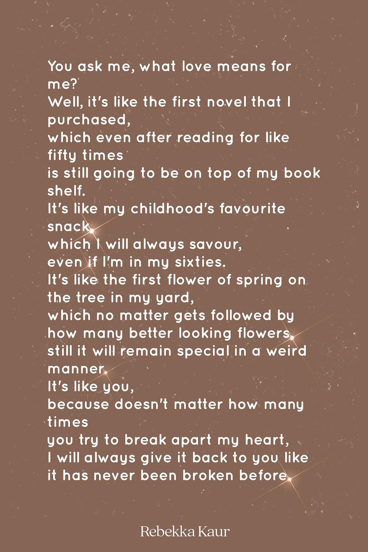poetry on love by Rebekka Kaur