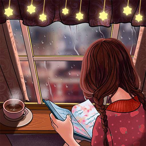 Drinking coffee while reading in rain