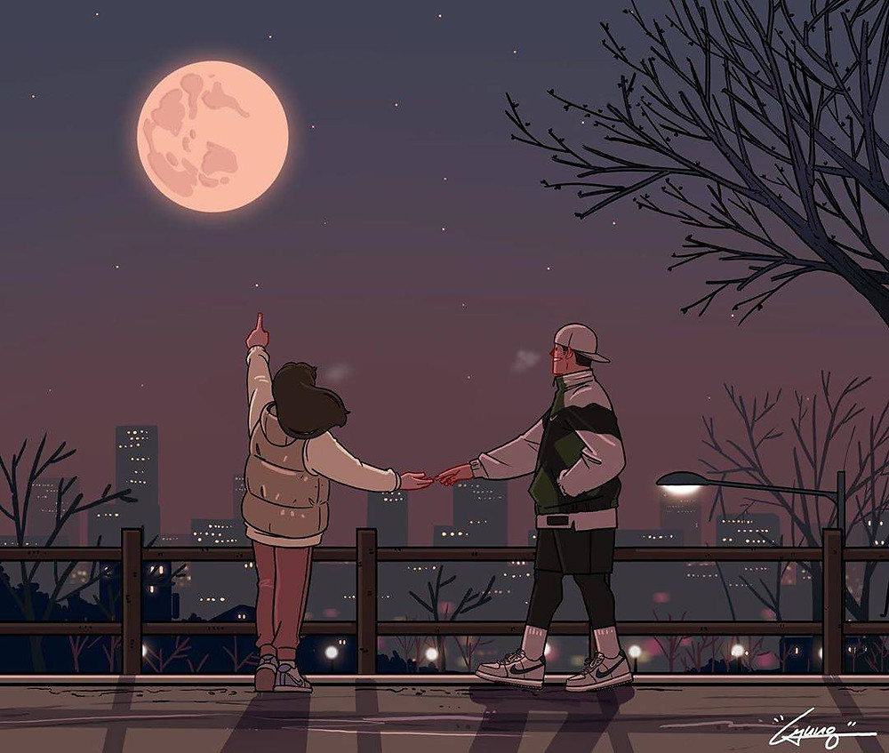 love poem, scifi poem, couple looking at moon, couple stargazing