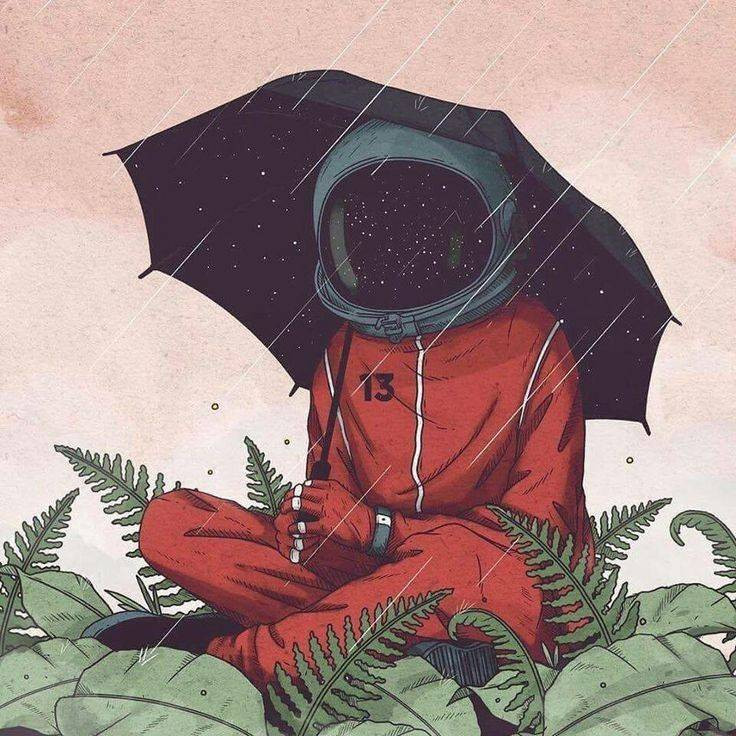 wearing spacesuit in rain while sitting on grass